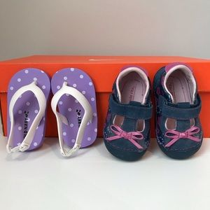 Brand new baby shoes and flip flops. Size 3